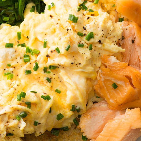 Poached Salmons Scrambled Eggs